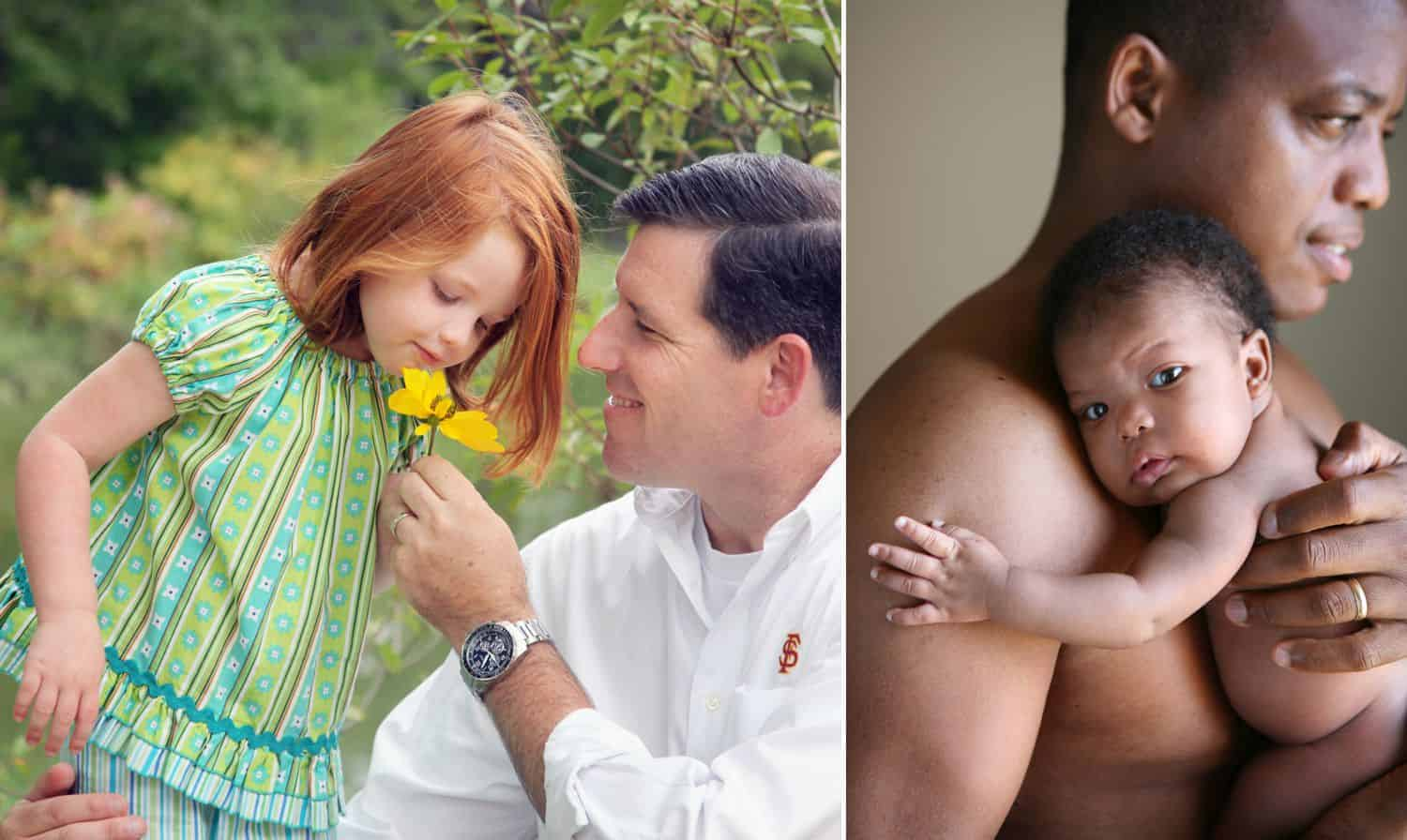 (Left) Dad holds flower for little girl to smell. (Right) Shirtless dad holds newborn baby to his chest.