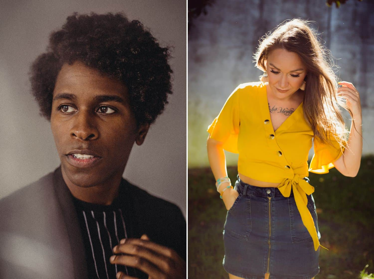 #ShootProofPro: 7 Stories for Days When You Think You Suck (Left: Black man in a suit jacket. Right: White woman in a yellow blouse.)