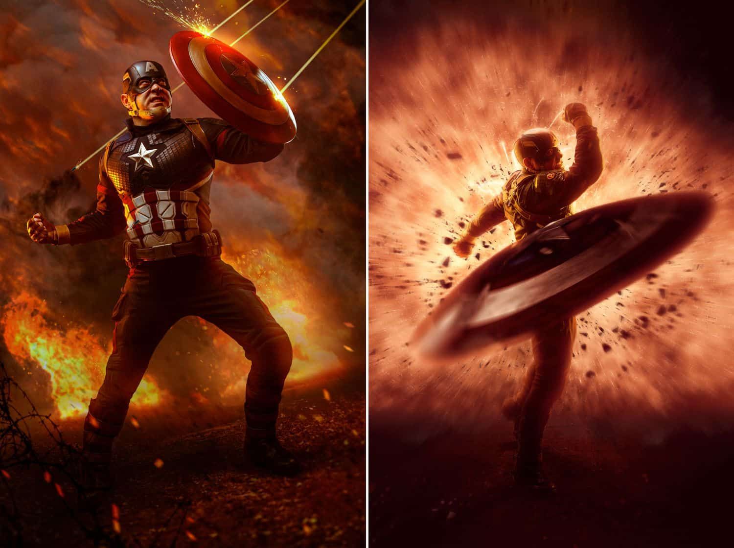 Freedom to create: Captain America cosplay with shield; digital art by Ryan Sims