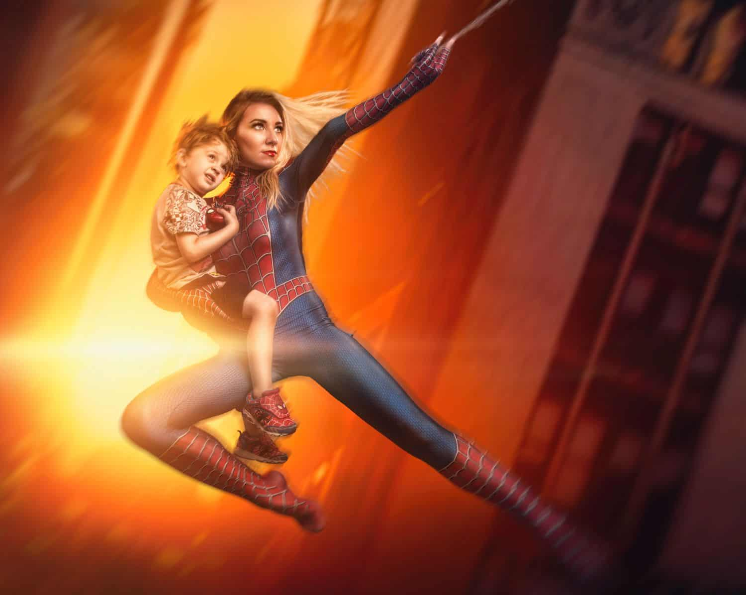 Freedom to create: Spidergirl cosplay with young child, digital art by Ryan Sims