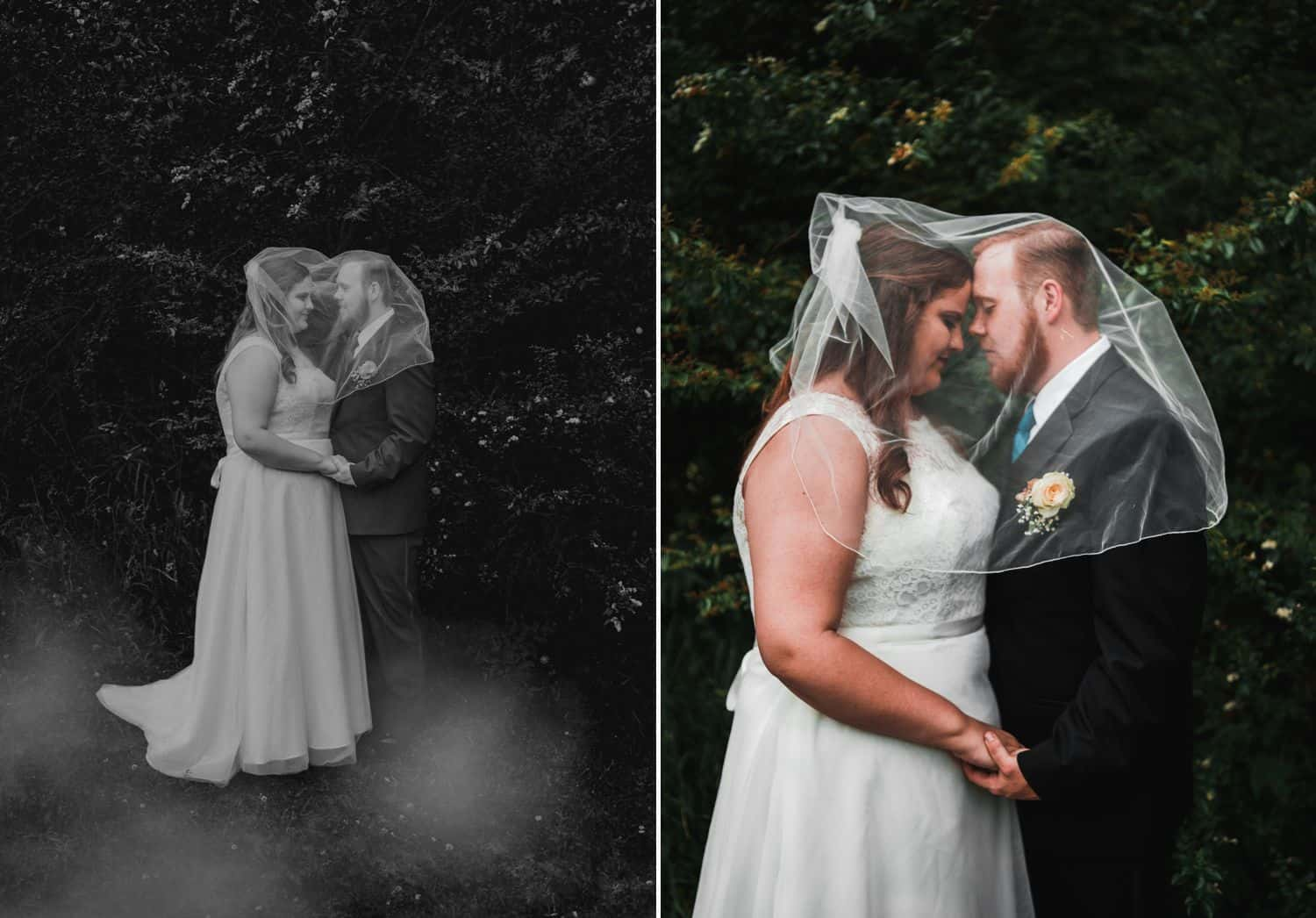 Diptych of wedding portrait, one full-length black-and-white, one 3/4 length color.