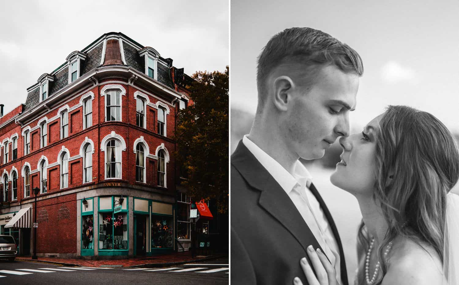 Diptych of a red Victorian house beside a black-and-white close-up wedding portrait with couple kissing