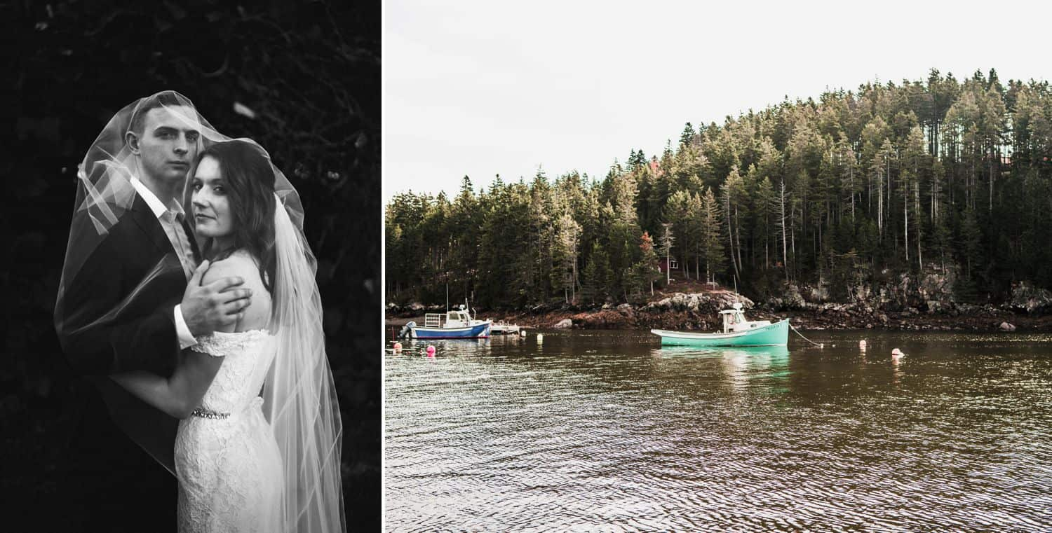 Dyptic of black-and-white wedding portrait plus a green kayak on the lake.