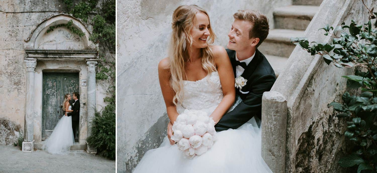 Van Middleton: portraits of bride and groom in ancient stone courtyard.