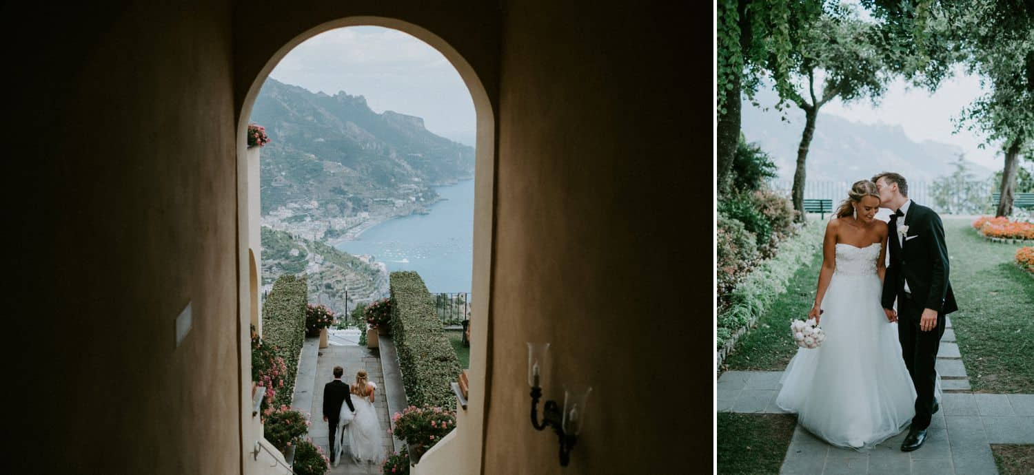 Van Middleton: Bride and Groom stroll down seaside pathway through arches.