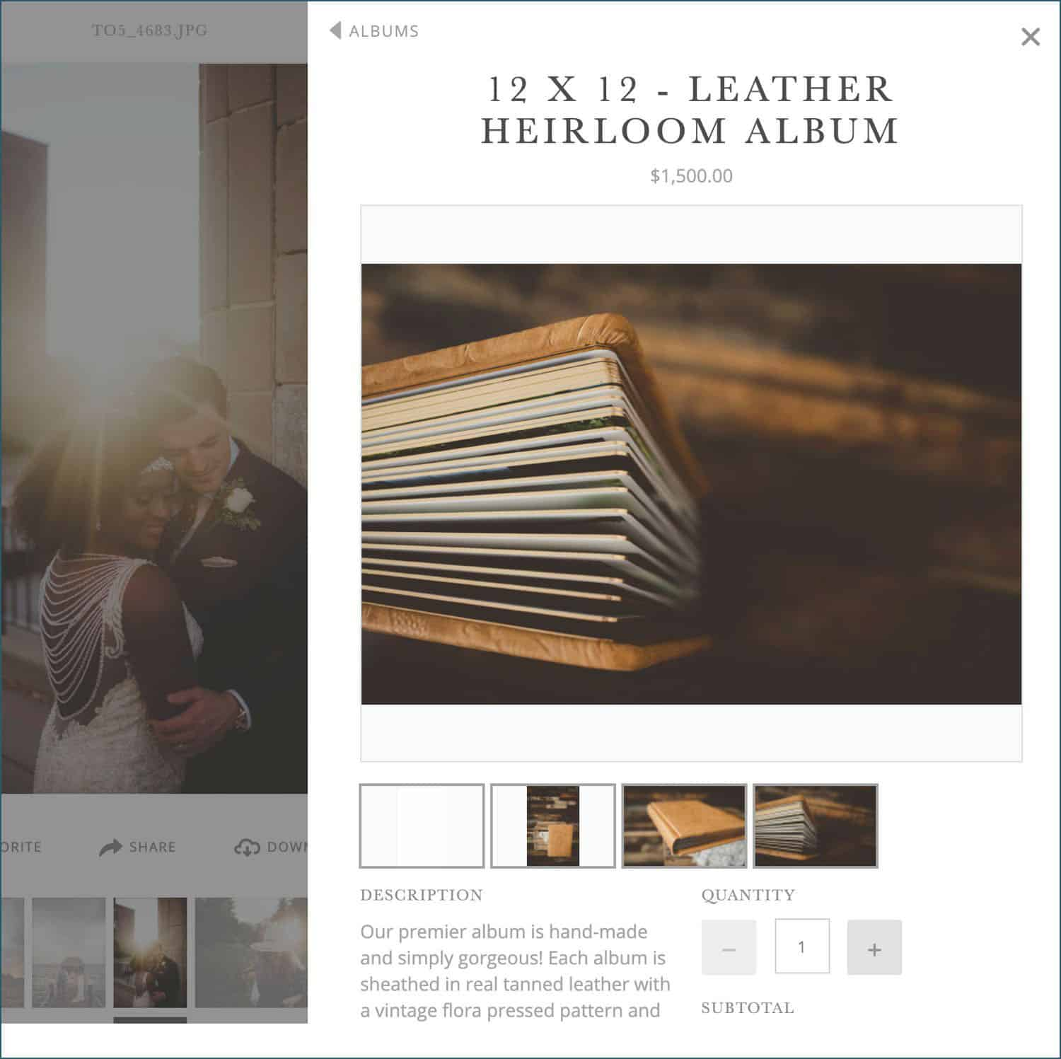 a crop of Twig & Olive's ShootProof shopping cart, showing their leather bound album