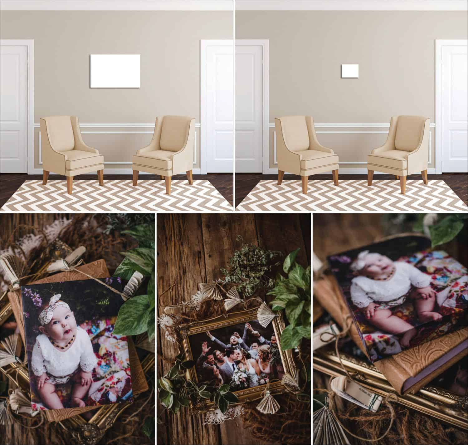 Twig & Olive's sample product images showing their canvases, frames, albums, and print sizes.