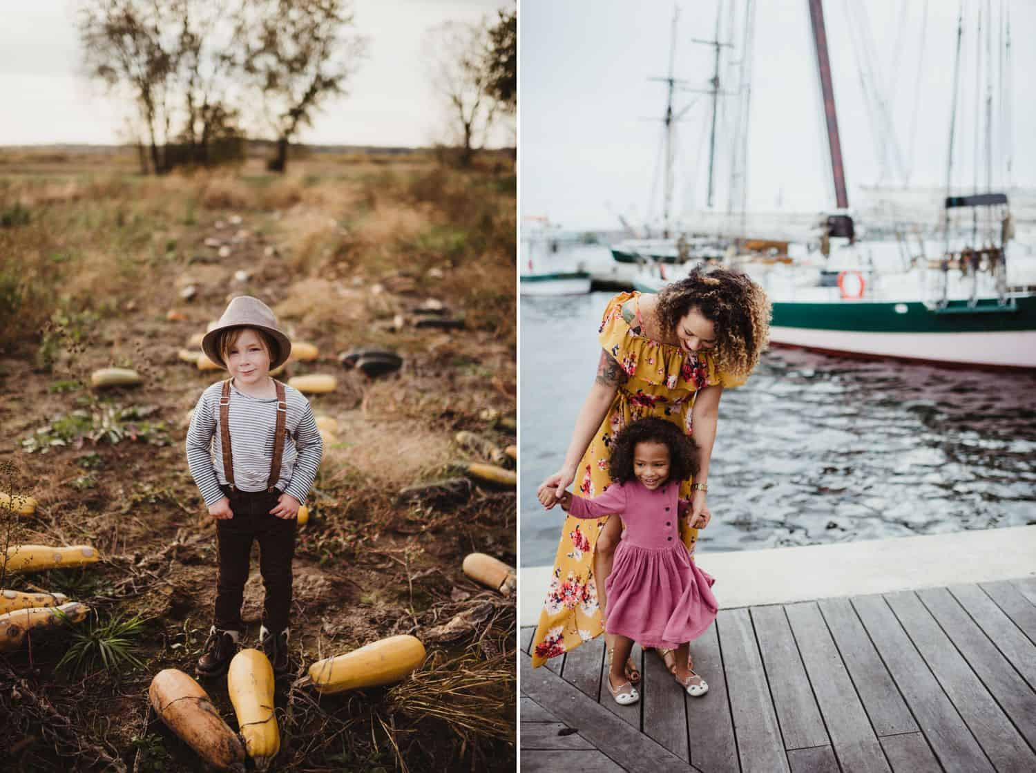a little boy in suspenders stands in a field of squash. a mom and daughter stand on a boat dock smiling.