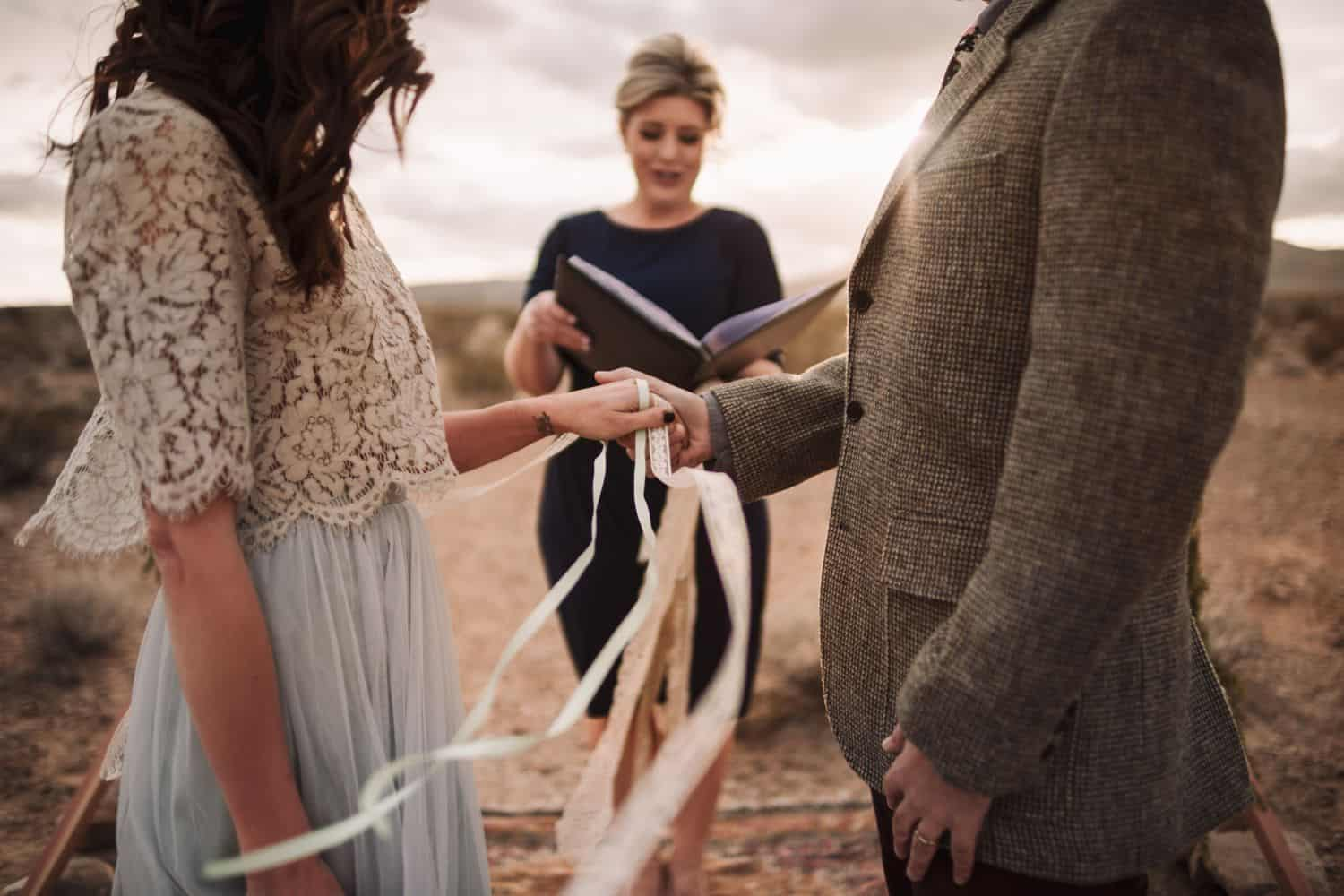 handfasting wedding elopement in the desert