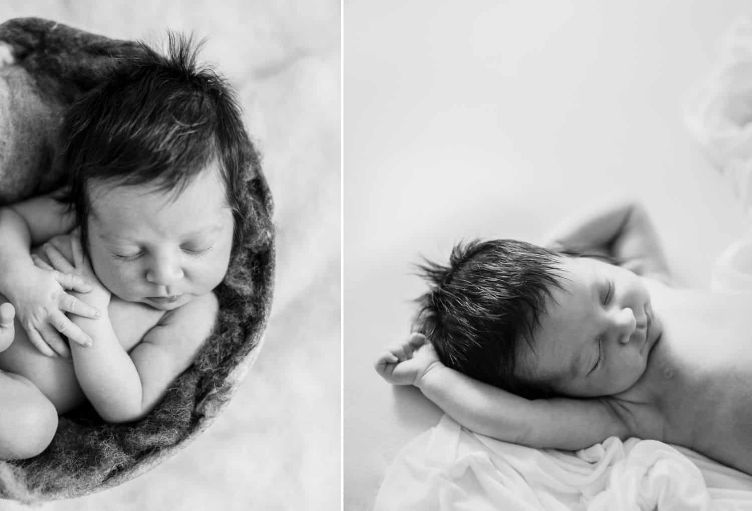 Hate in-person sales? Here's how to sell albums online! | Two of Ashley Wilbur's black-and-white newborn photos are displayed side-by-side.