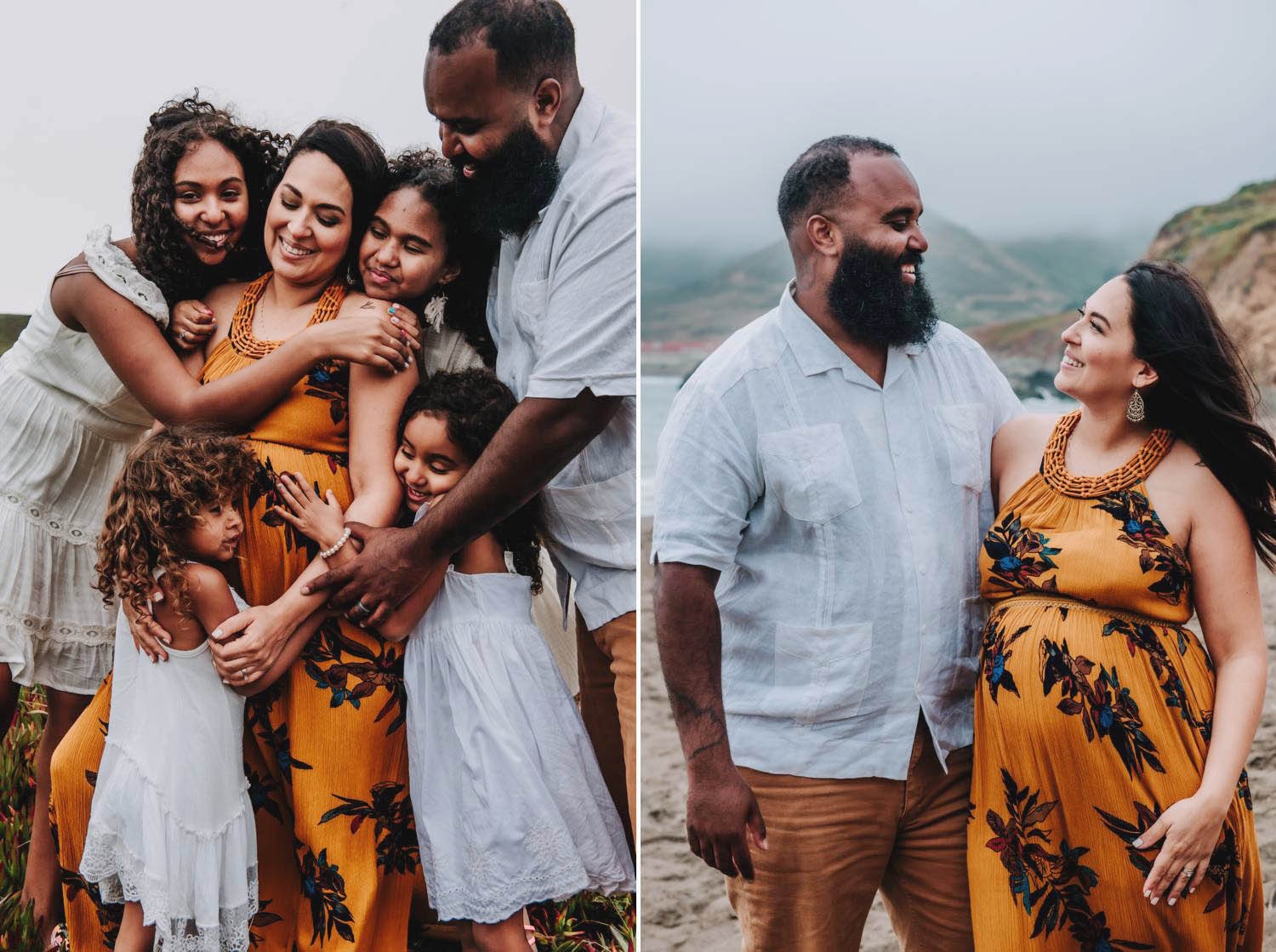 Captured Happiness Photography created this beautiful maternity pose that include's the pregnant mother's entire family standing in a moody landscape in Hawaii.