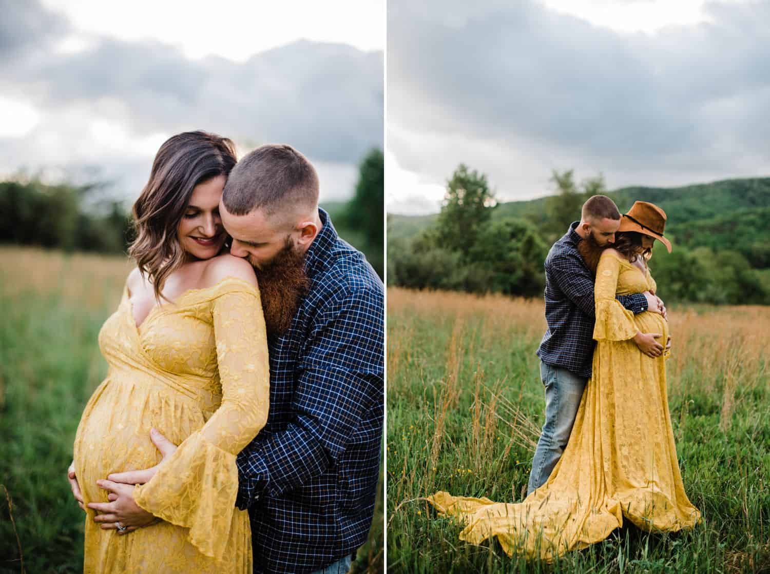 Maternity Poses: two side-by-side photographs of a pregnant woman in a yellow dress. In one she's standing in front of her husband who cradles her belly and kisses her shoulder. In the other, she's wearing a hat as her husband cuddles her from behind.
