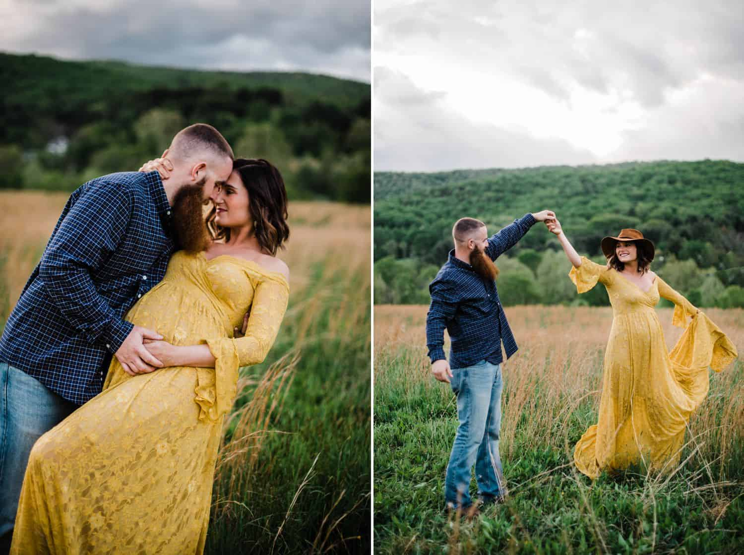 Maternity Poses: pregnant woman in a yellow dress dancing in a field with her husband in a plaid shirt