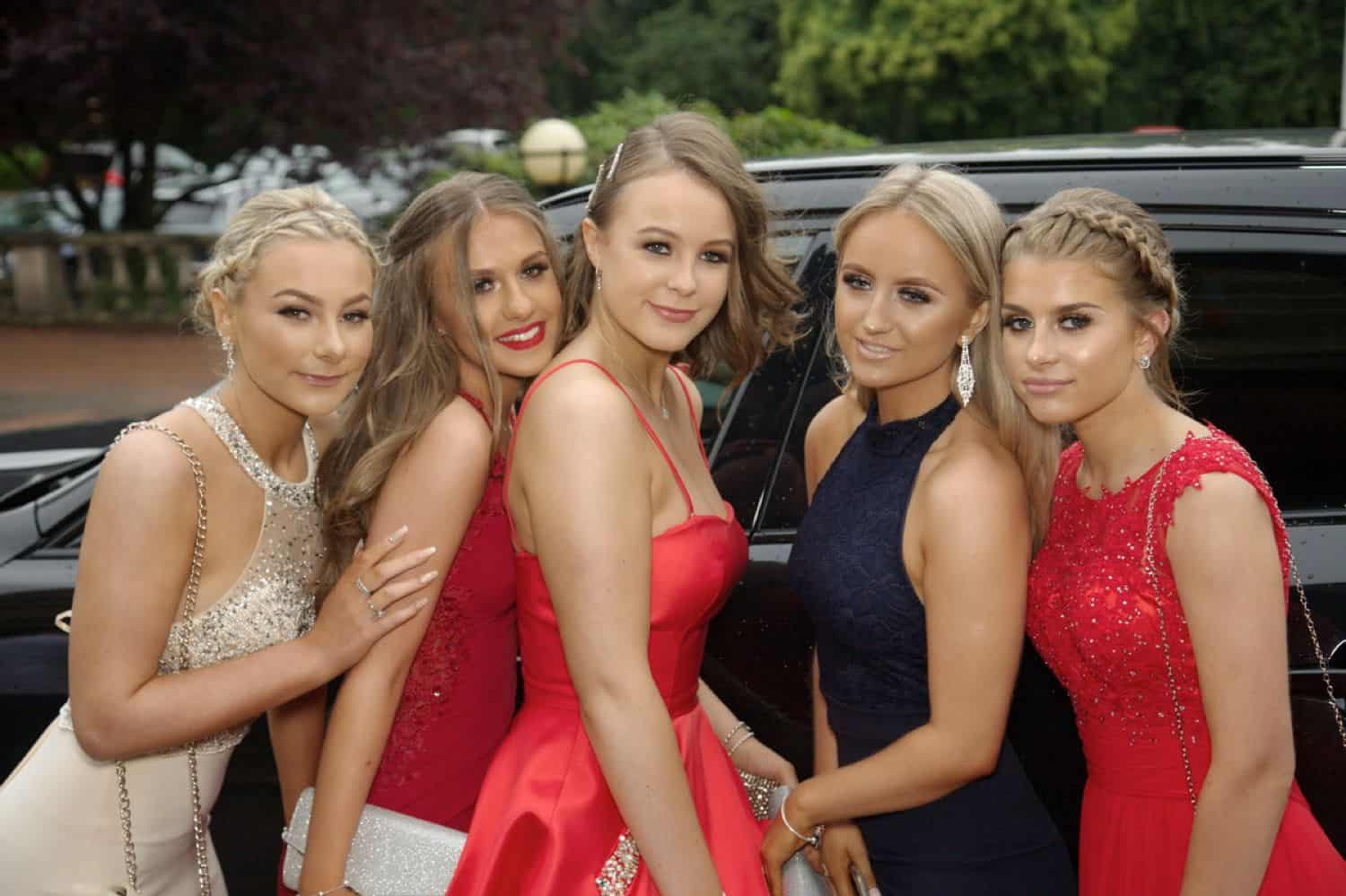 Five high school senior girls pose for their prom photography