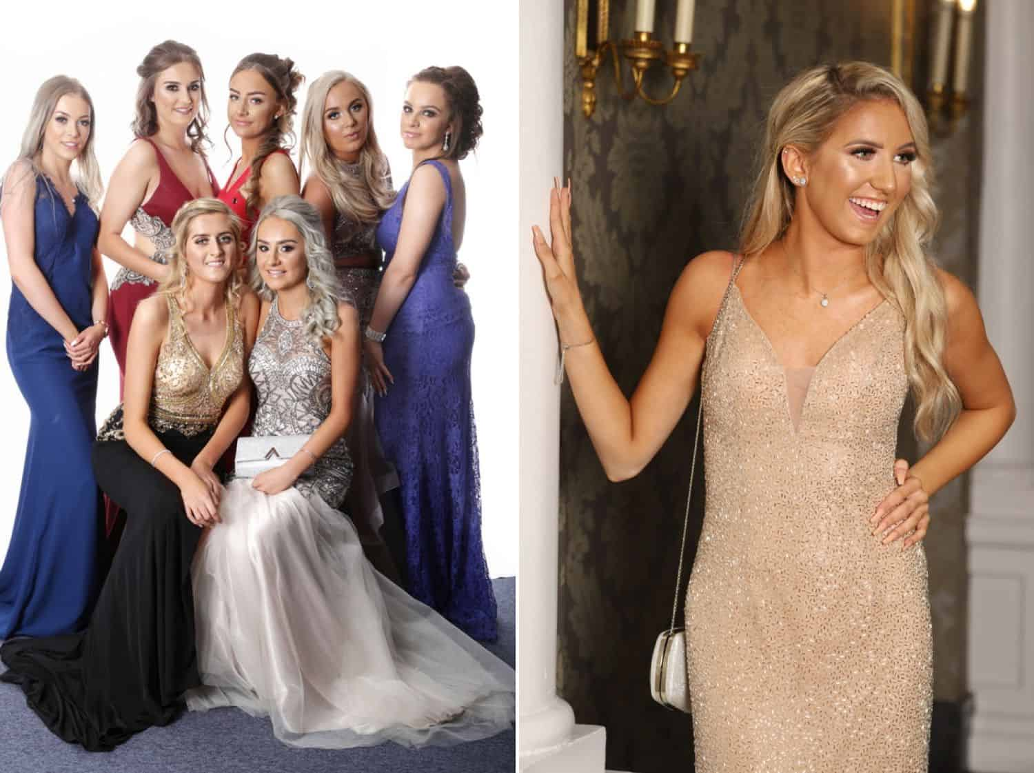 High school senior girls pose in their formal gowns for prom photography