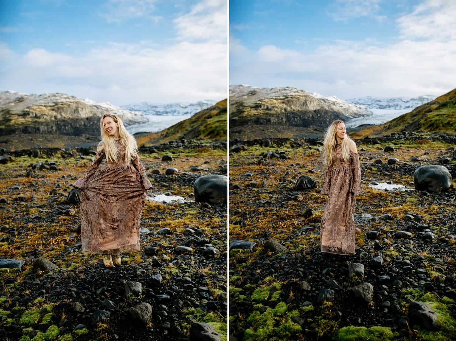 Woman in a brown lace dress stands in the Icelandic landscape