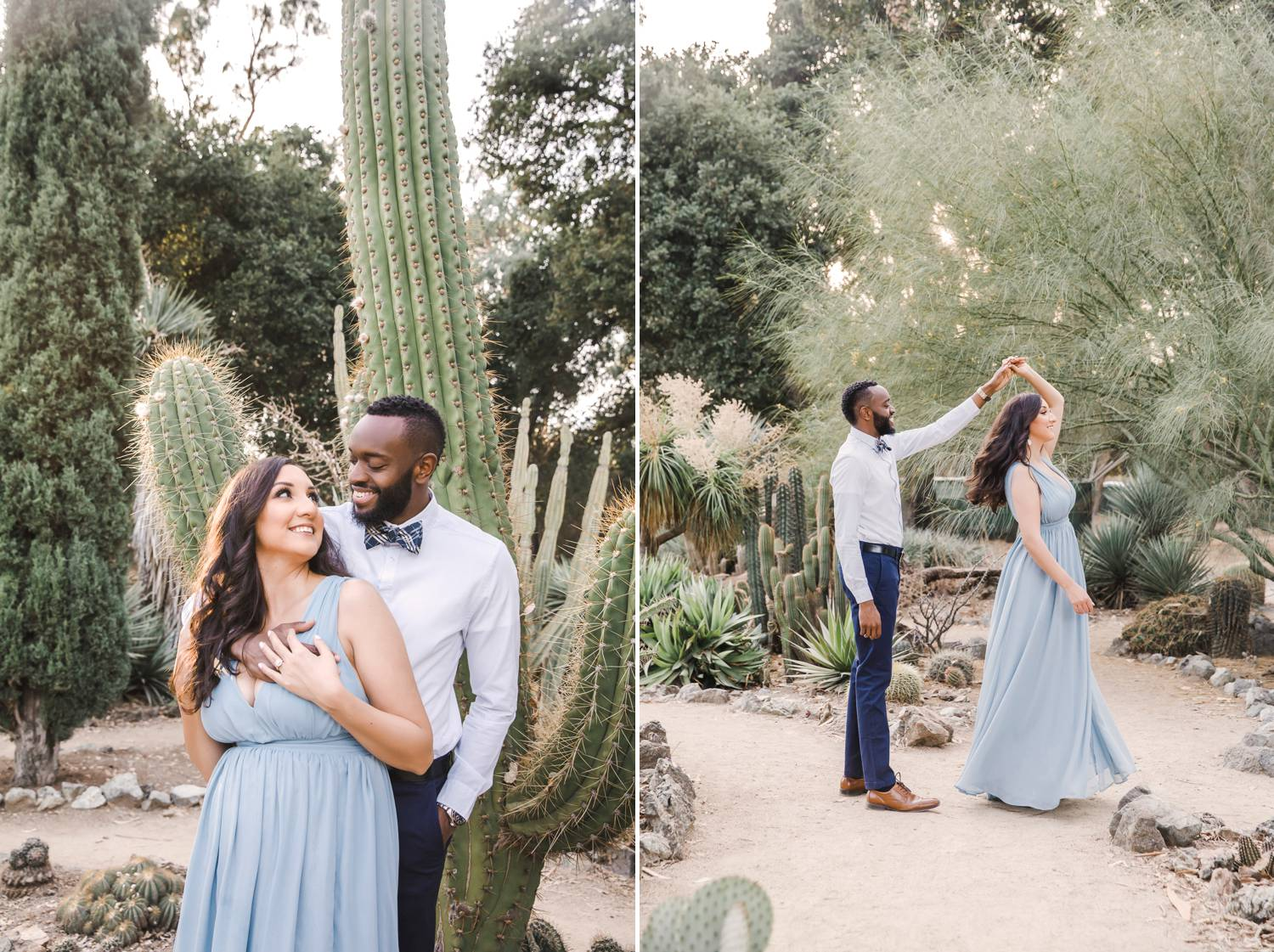 A couple hugs and twirls in a cactus garden
