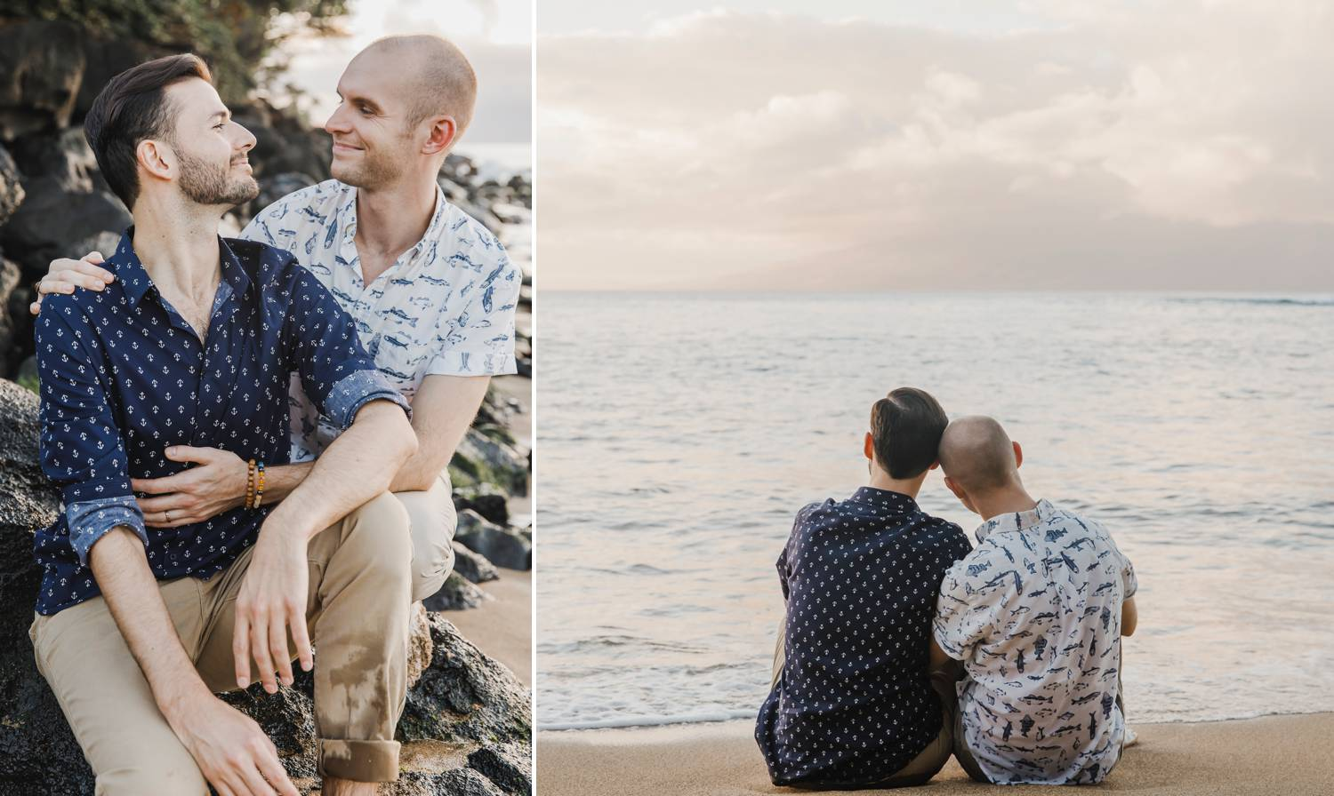 Two engaged men sit close on a beach at sunset