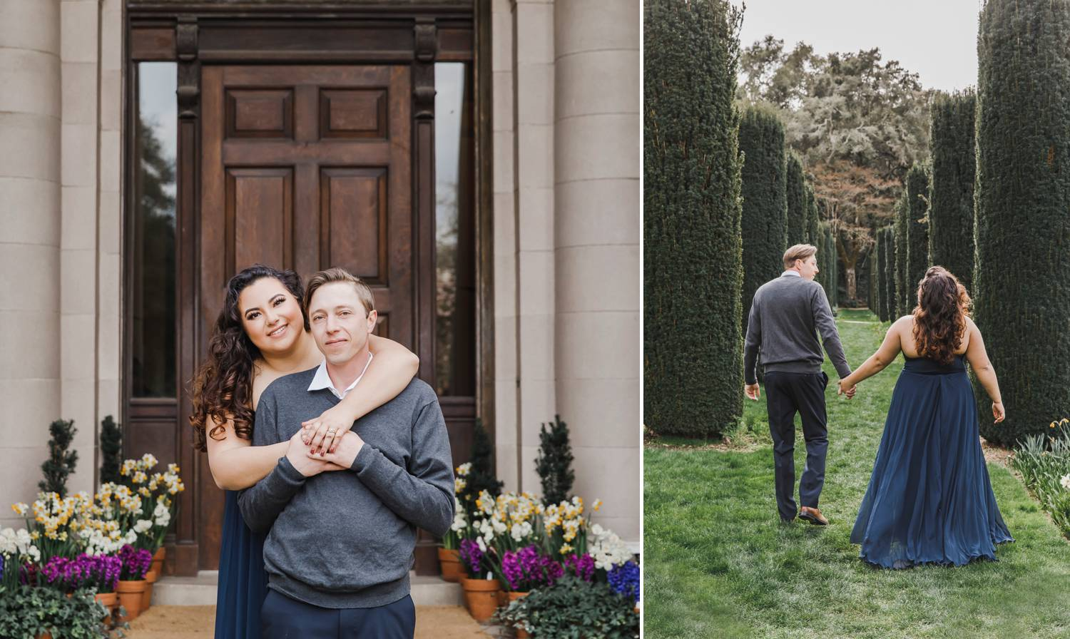 An engaged couple poses for photos in front of an old mansion