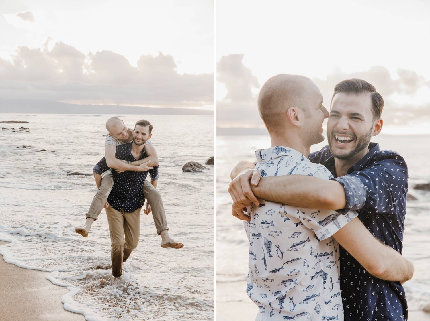 Two men play in the surf at sunset, giving one another piggy back rides and hugging one another close.