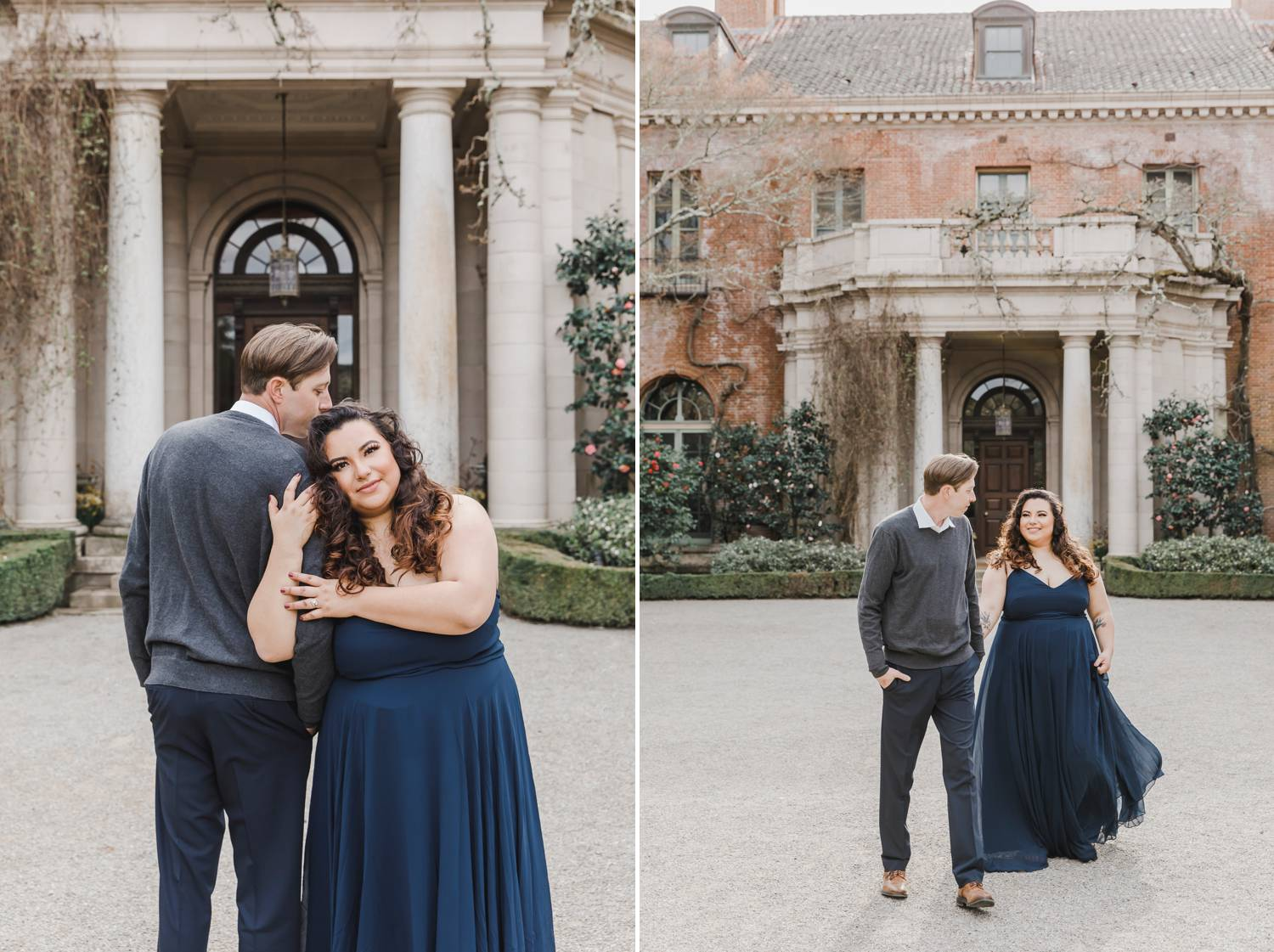 An engaged couple poses for photos in front of a beautiful old mansion. The woman wears a navy blue maxi dress.
