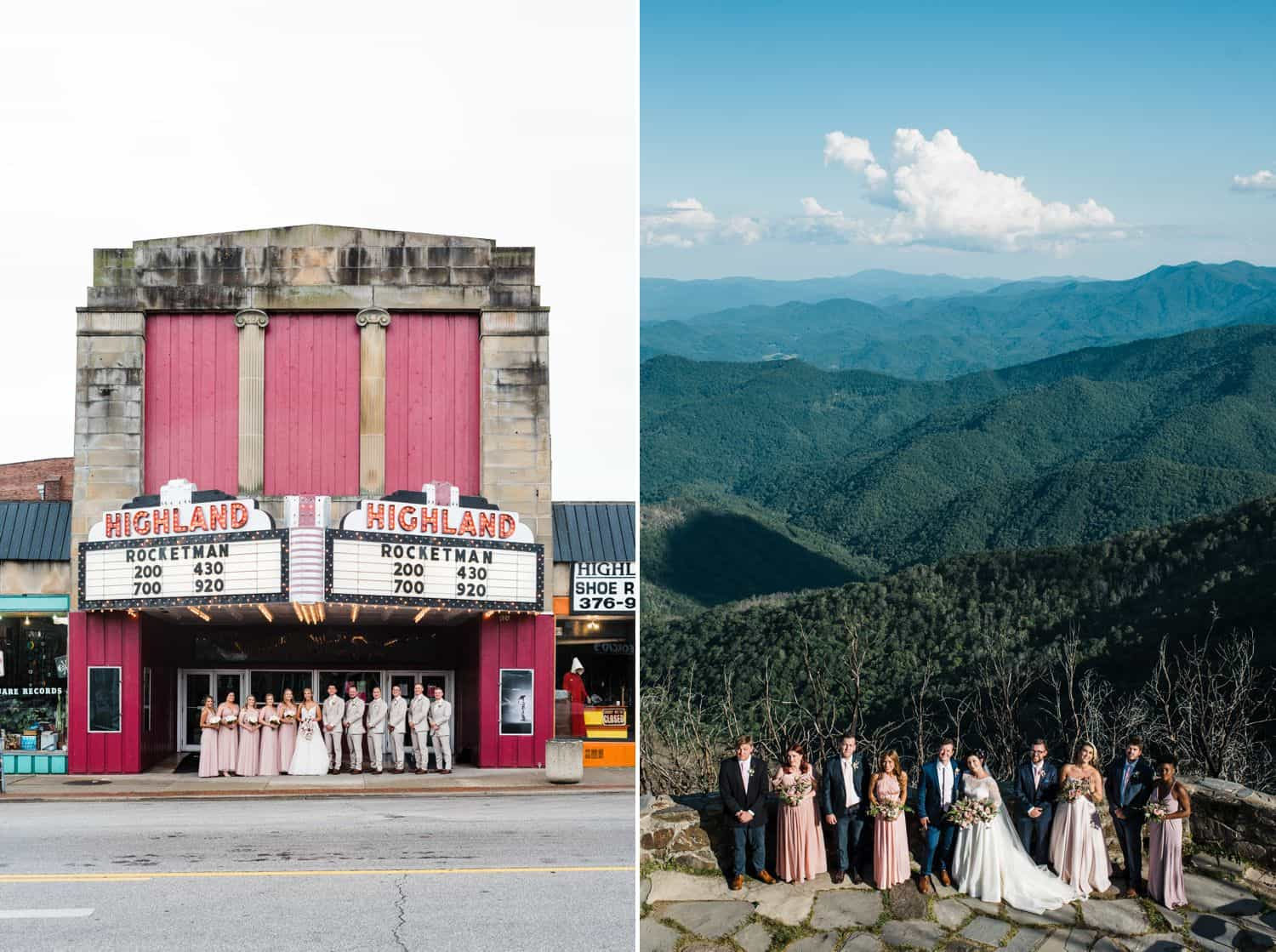 Wedding parties pose in front of their venues.
