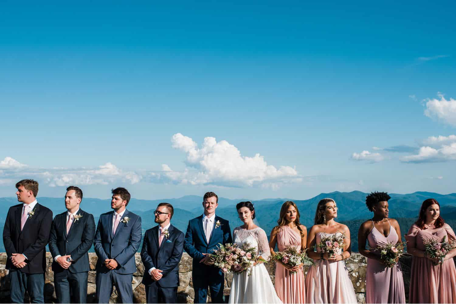 A wedding party stands under a blue sky overlooking the mountains.