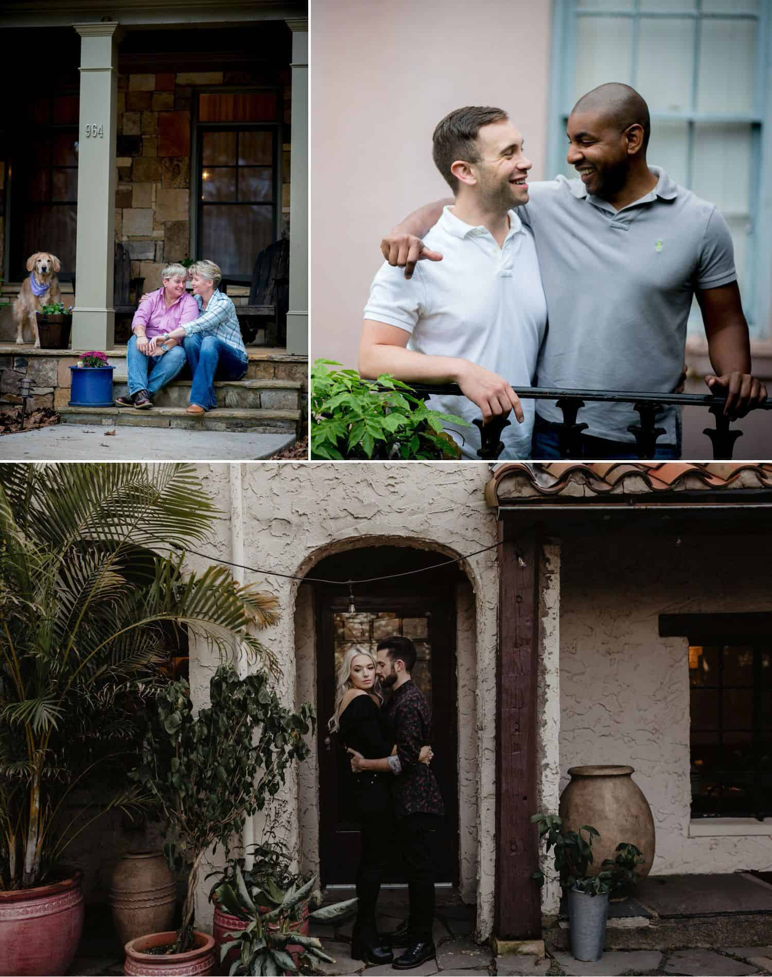 Photograph engaged couples in front of their home to commemorate their first home together