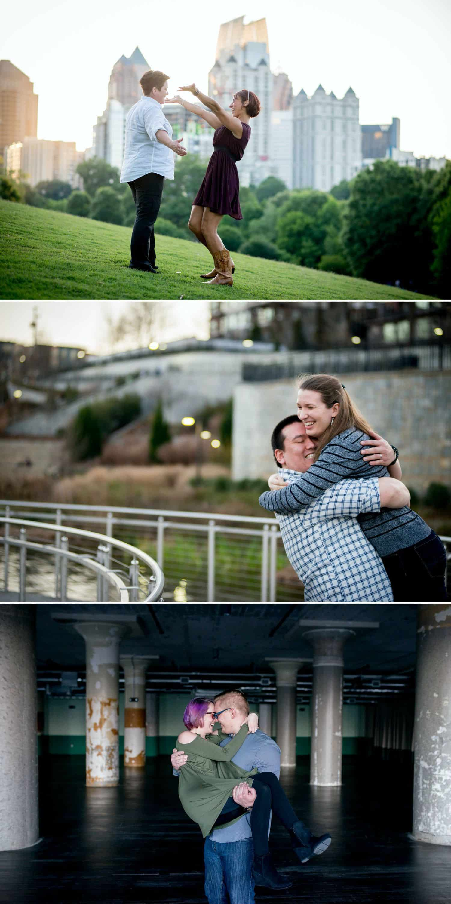 Couple give each other big bear hugs to demonstrate their love for their engagement session