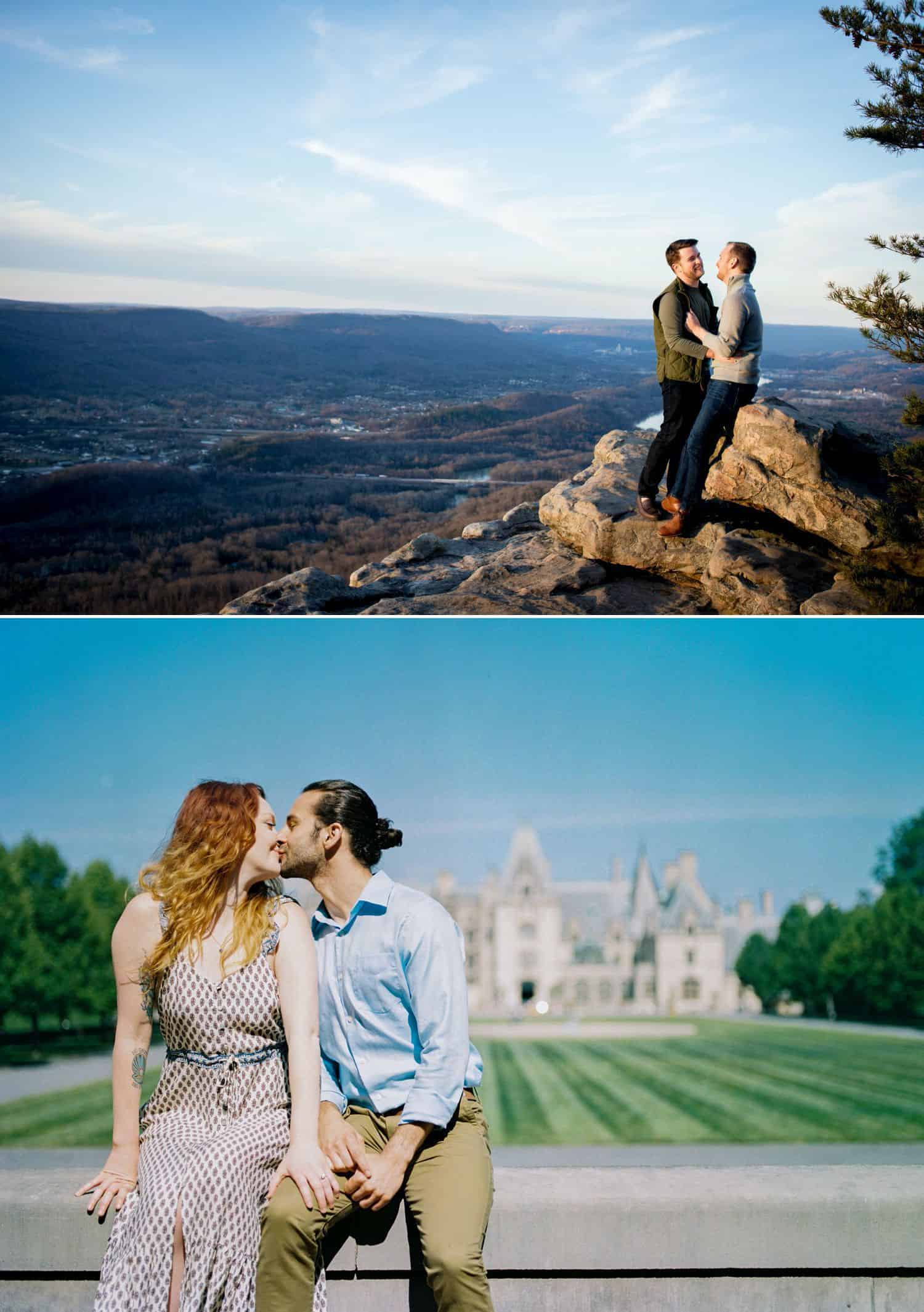 Pose your engaged couple so you can also capture the gorgeous scenery behind them