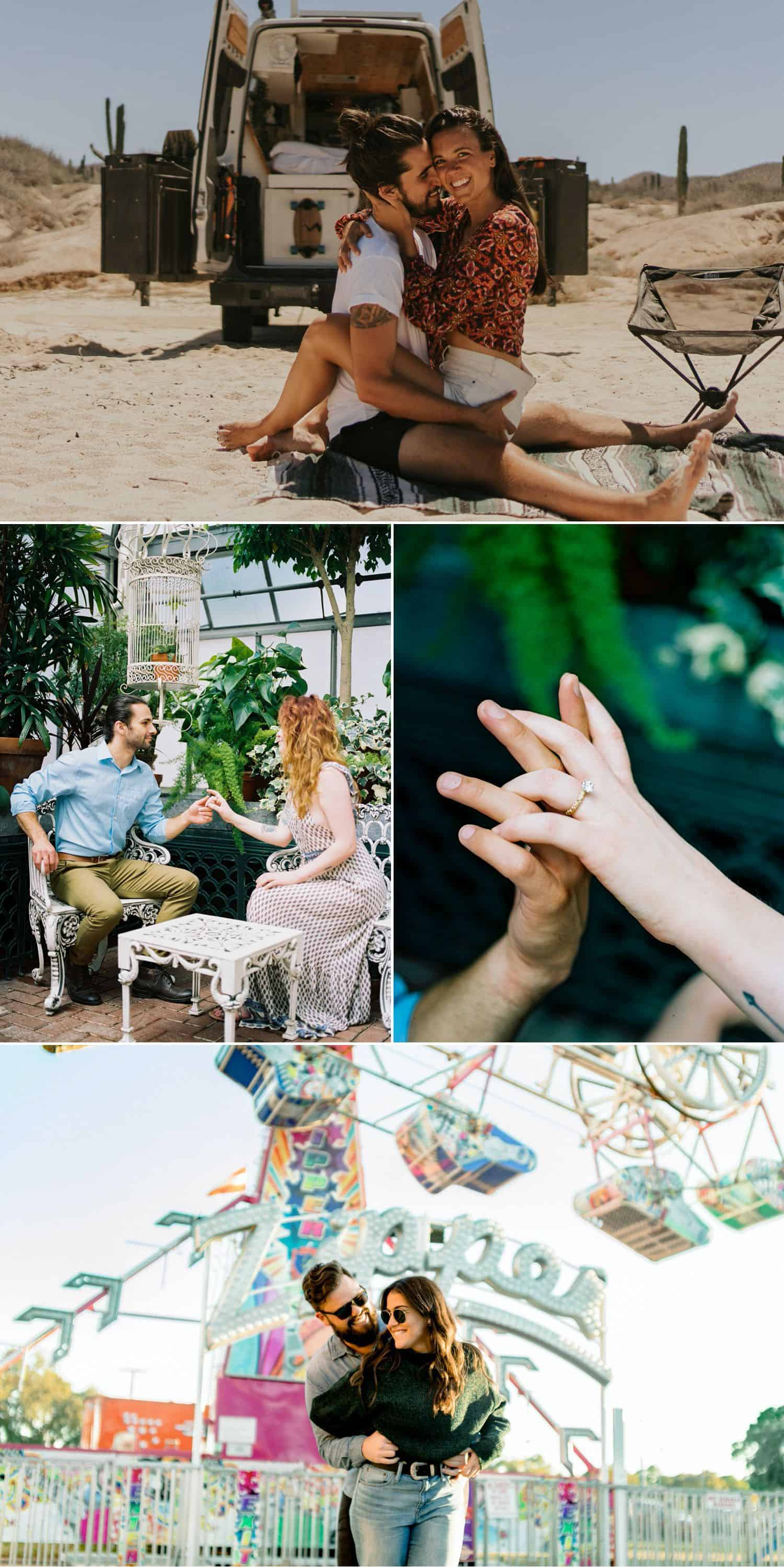 Use creative engagement photo poses and scenes to tell a story