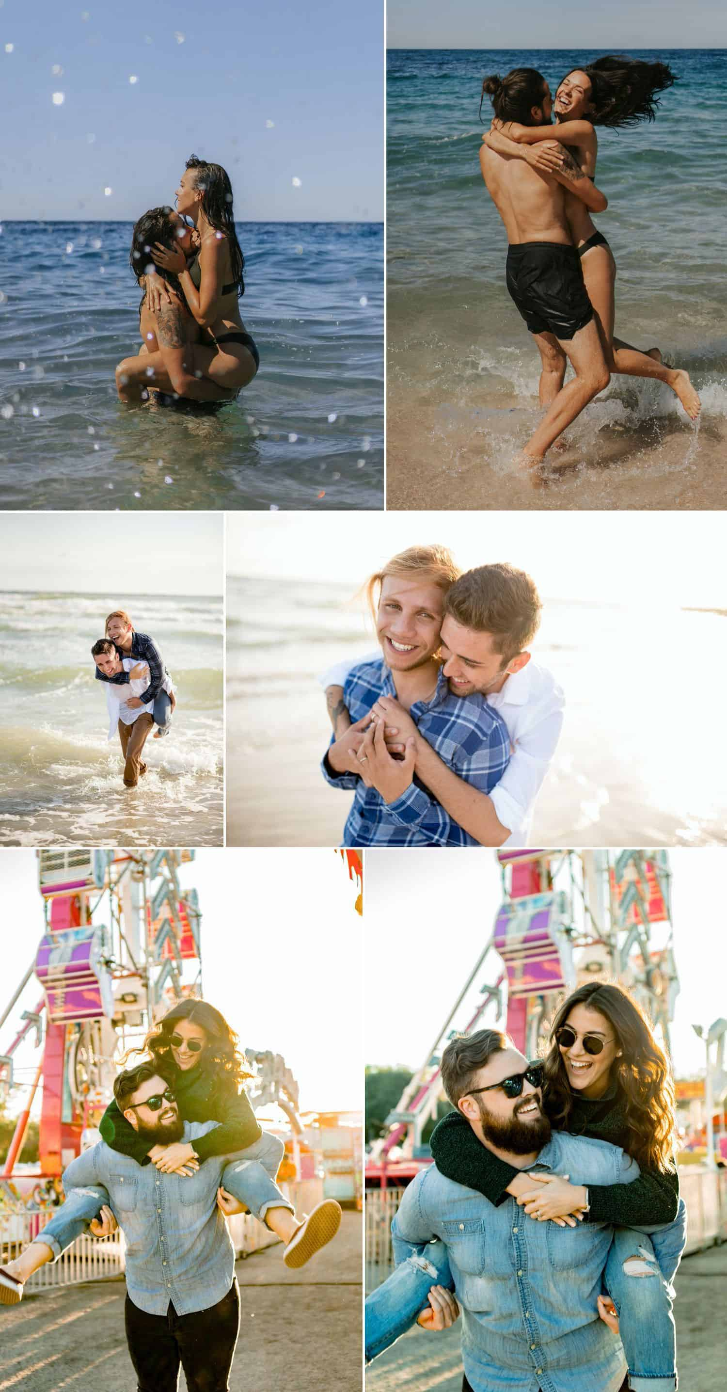 Engaged couples give each other piggy back rides and carry each other through the waves at the beach