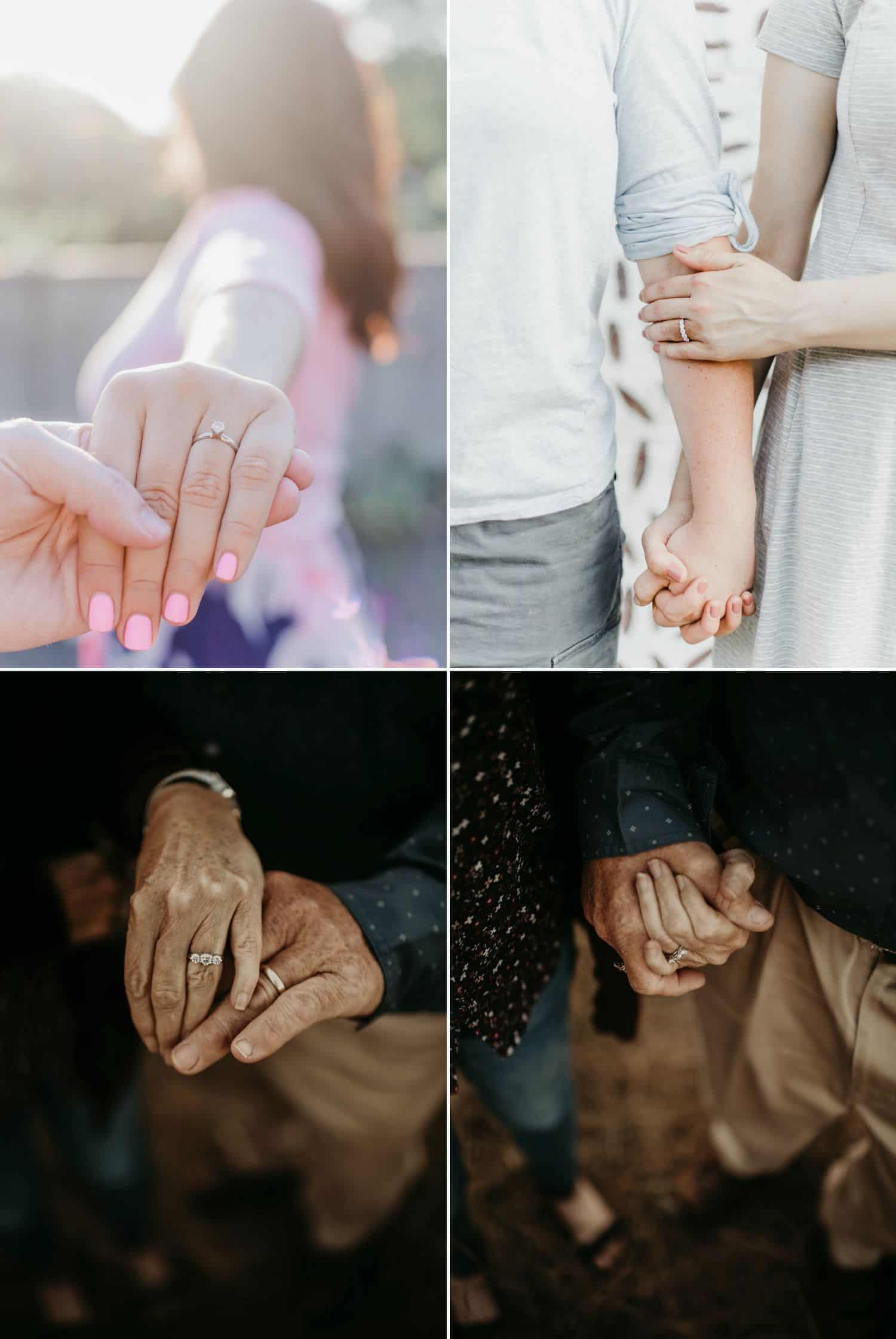 Wedding and engagement rings are creatively photographed on three different couples