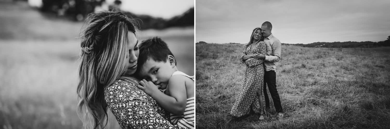 In this diptych, a black and white image shows a mother carrying her son through a field. In the next image, the mother stand with her back to the father whose arms are around her.