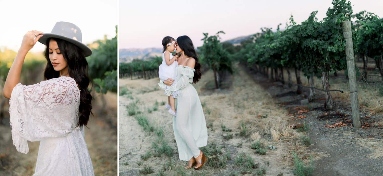 In this diptych, a woman in a white lace dress poses with a fedora on her head. In the next photo, a mother in a flowing dress holds her toddler daughter in a vineyard.