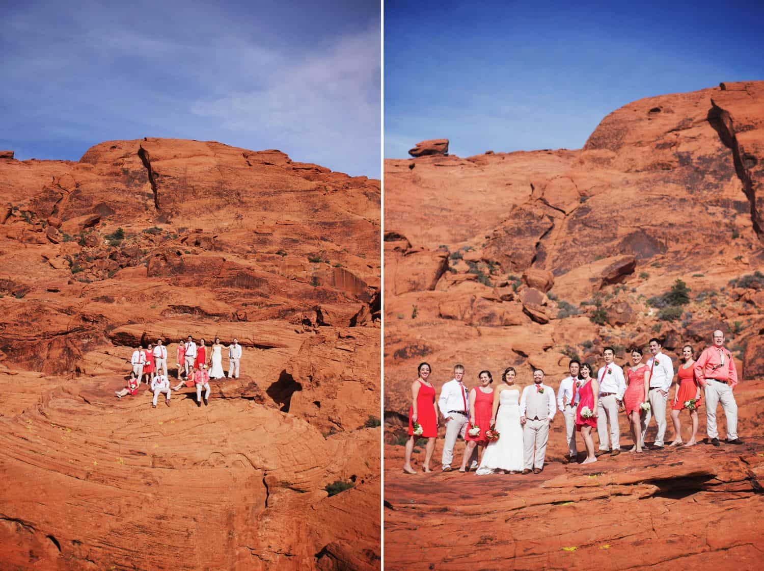 A wedding party poses on the red rocks of a western landscape.
