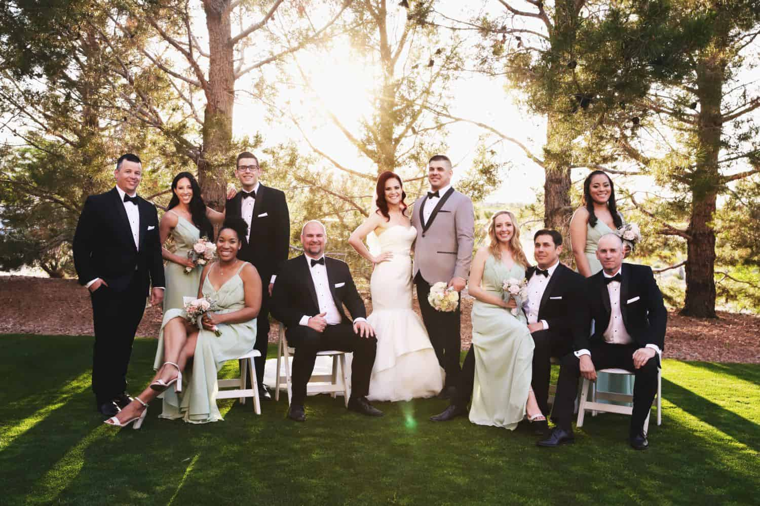 Bridesmaids and groomsmen stand and sit in a formal portrait pose in the grass at the edge of a sun-filled forest.