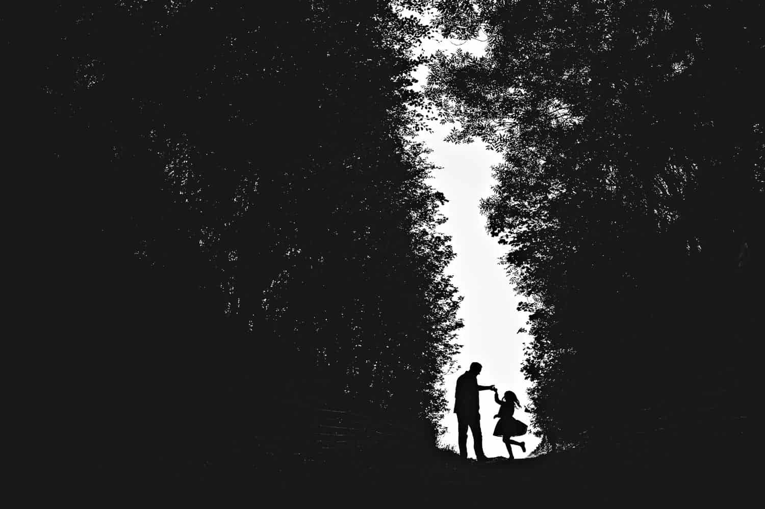 Silhouette of a father twirling his daughter in a sliver of light between large bushes.