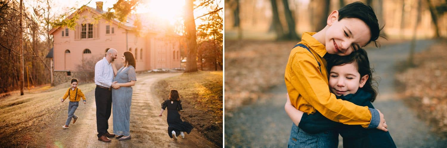 This diptych features two siblings dressed in fall colors skipping down a dirt road at sunset, then hugging one another close.