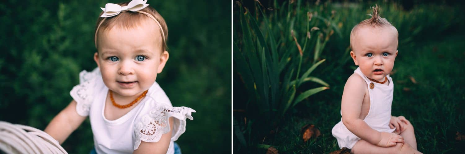 This diptych features two toddler siblings standing in tall green grass.