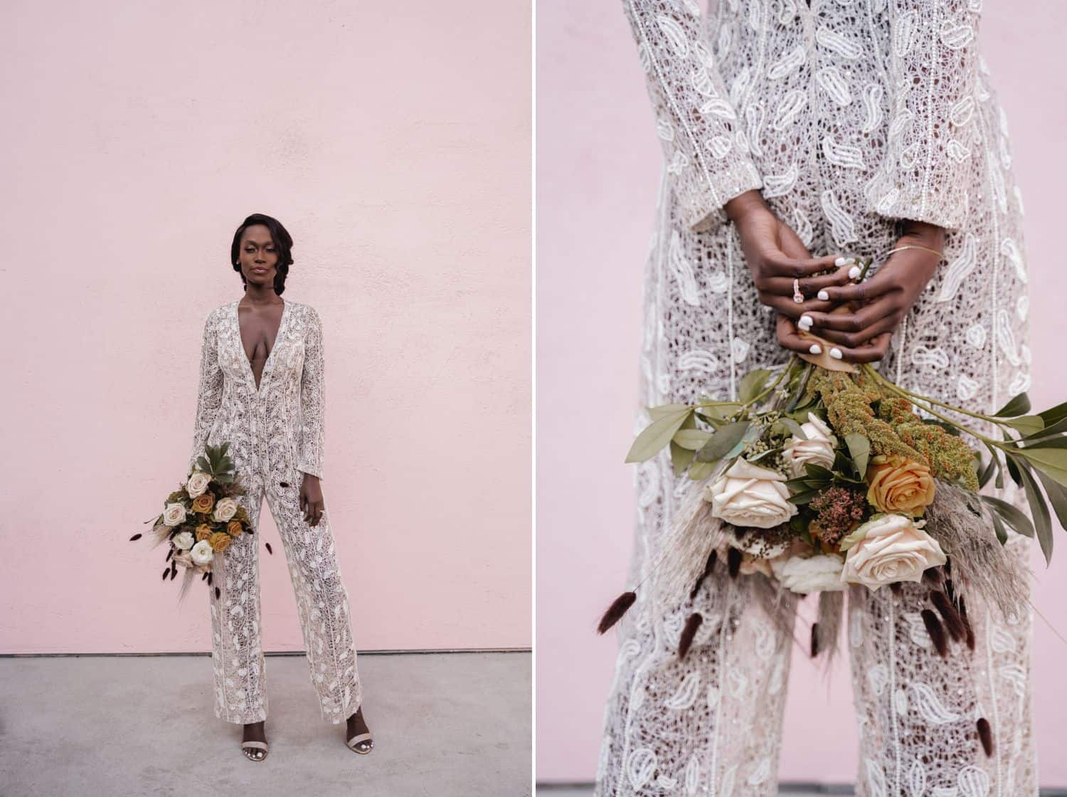 In this diptych, a Black bride in a lace jumpsuit holds her large wildflower bouquet against a pink wall.