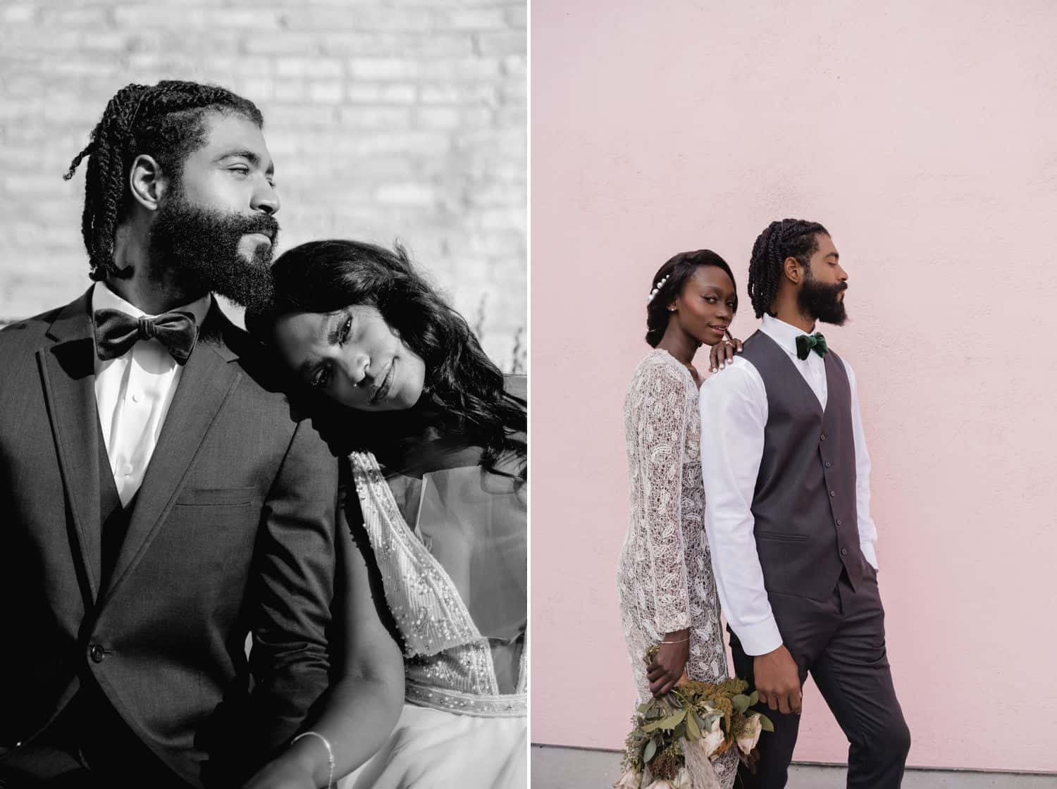 A Black bride and groom pose together in front of a brick wall for a black and white portrait, then again before a pink wall for a color photo.