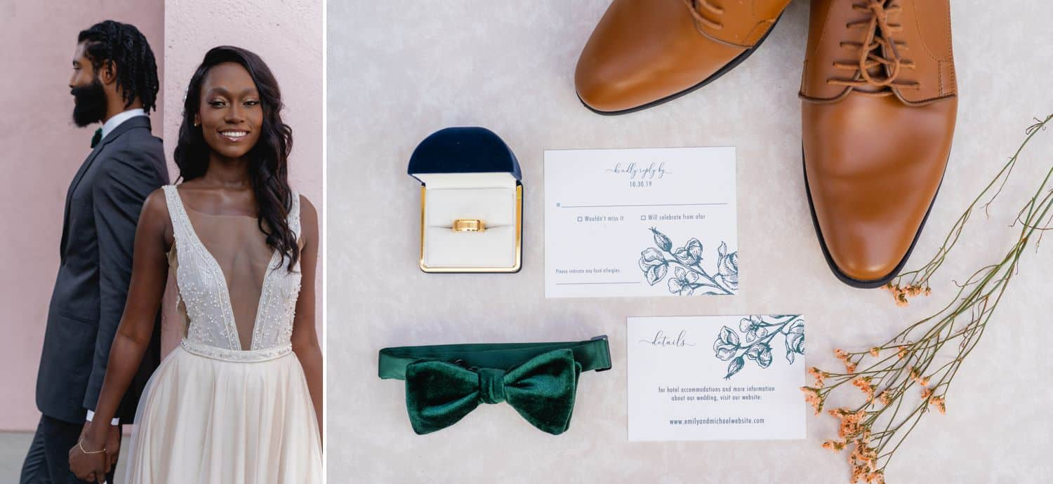 Wedding day details – a bow tie, leather shoes, invitations, flowers, and a ring – are pictured beside a smiling bride and groom.