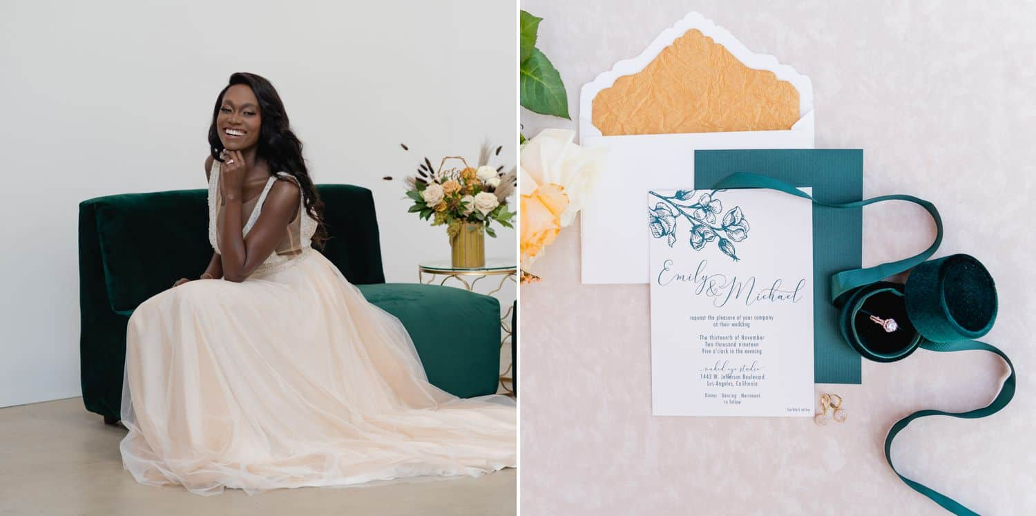A Black bride sits on an emerald green sofa in a white studio wearing an ivory gown.