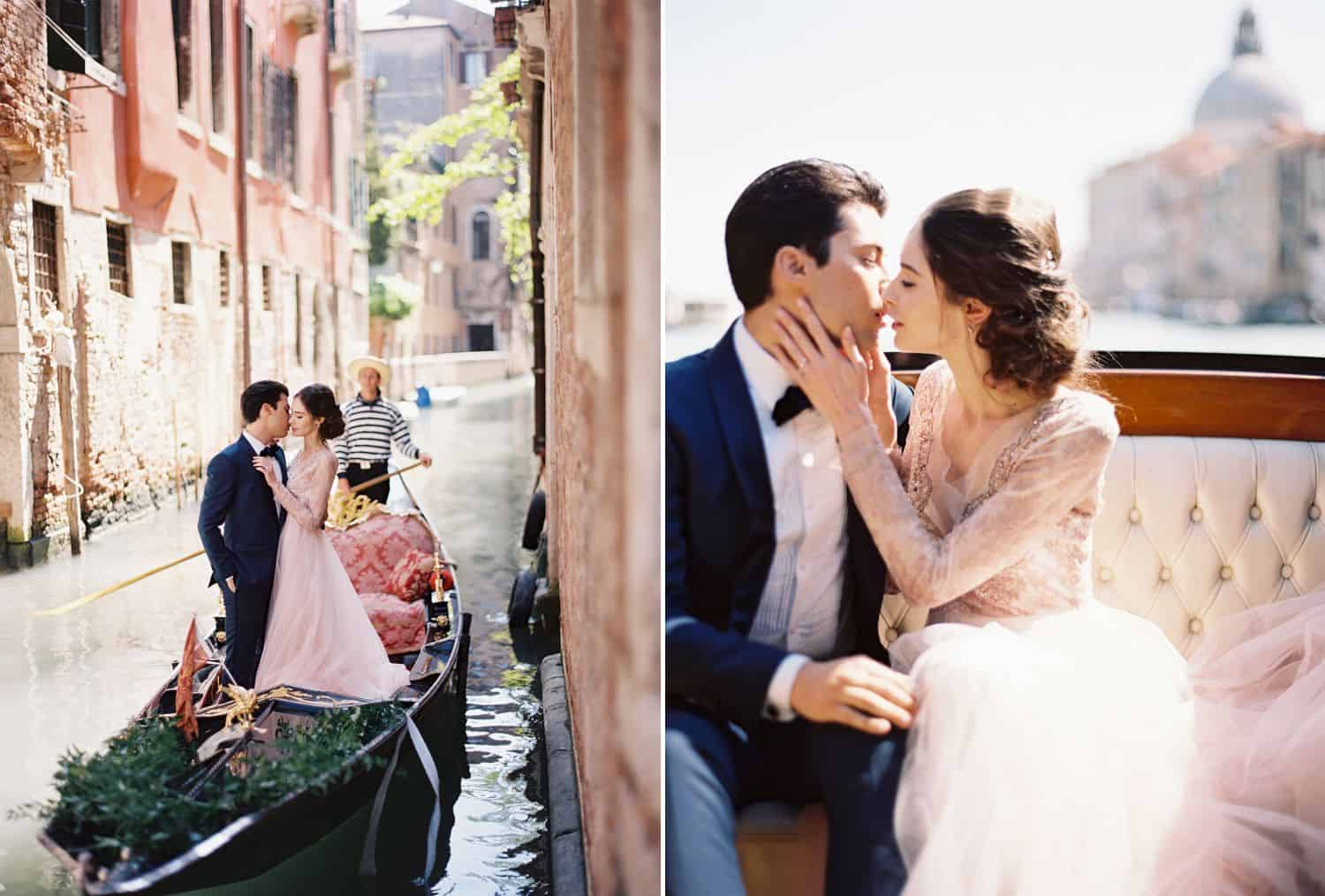 A bride and groom ride in a gondola through the canals of Venice, Italy.