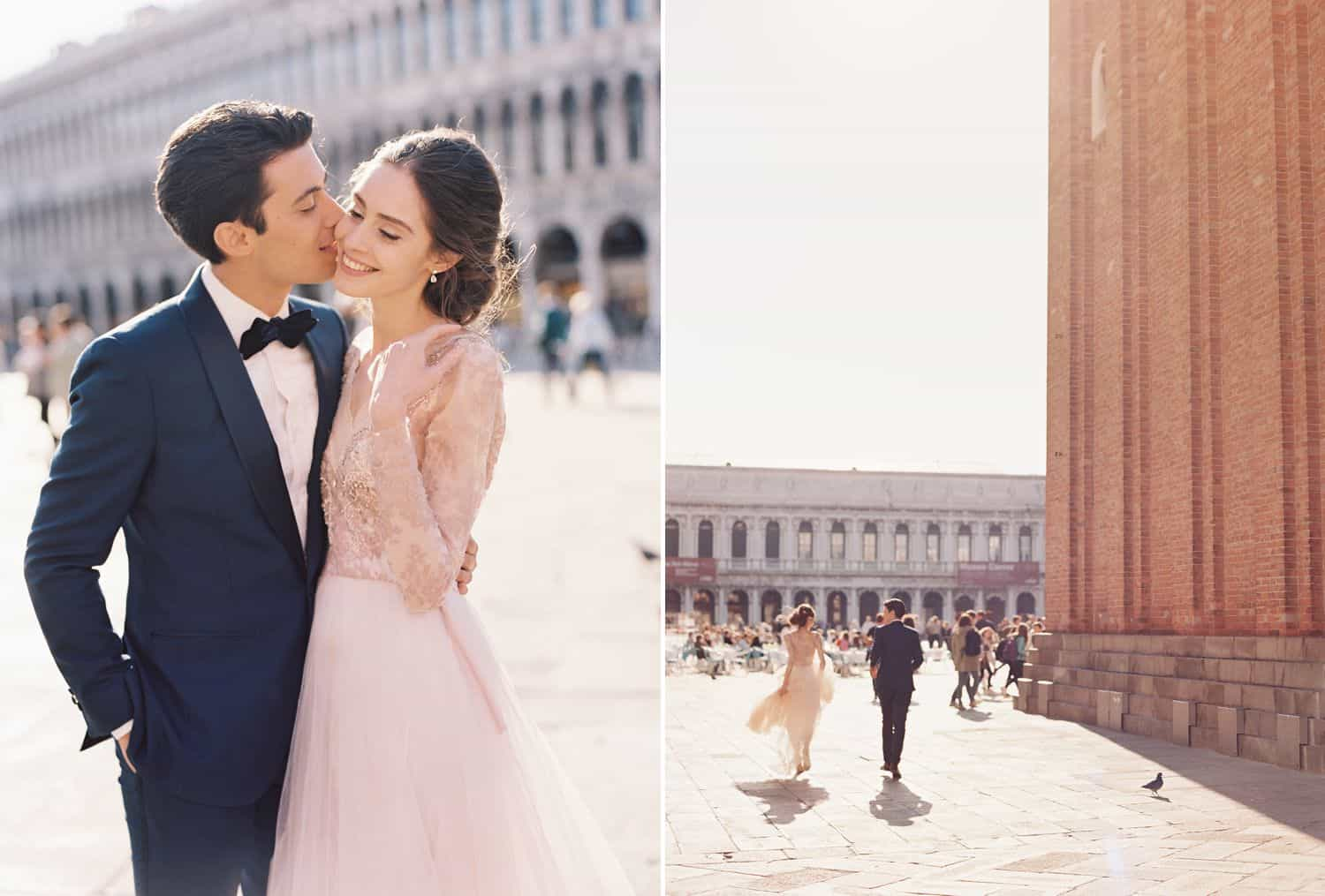A bride and groom tour Italy in a blue tuxedo and a pink wedding gown.