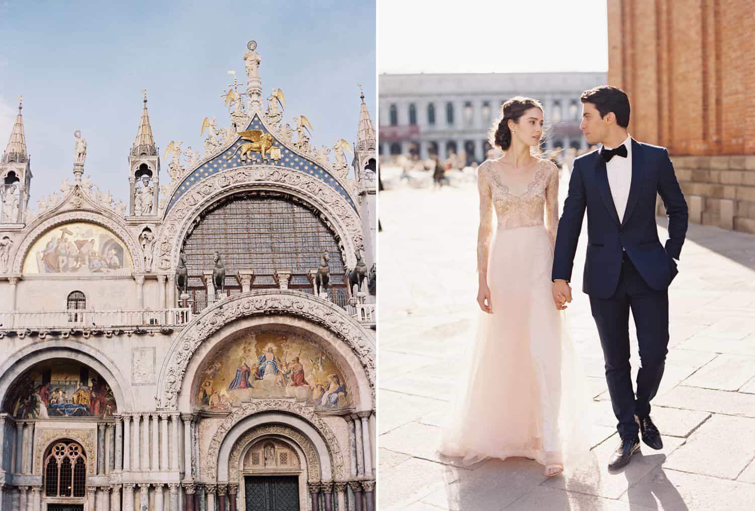 A bride in a pink dress walks through an Italian courtyard with her groom who's wearing a blue tuxedo.