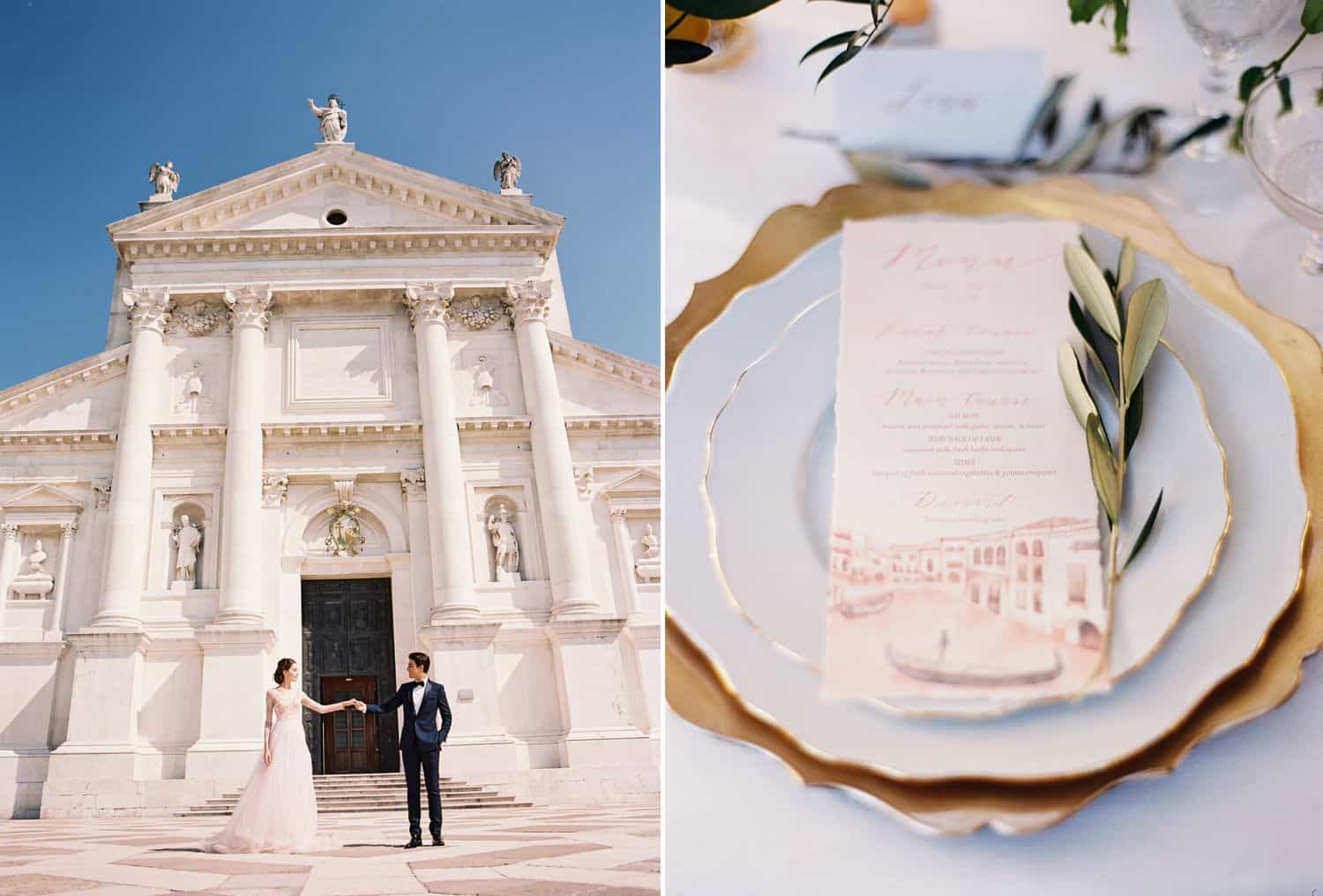 A bride and groom stand before an Italian cathedral under a bright blue sky.