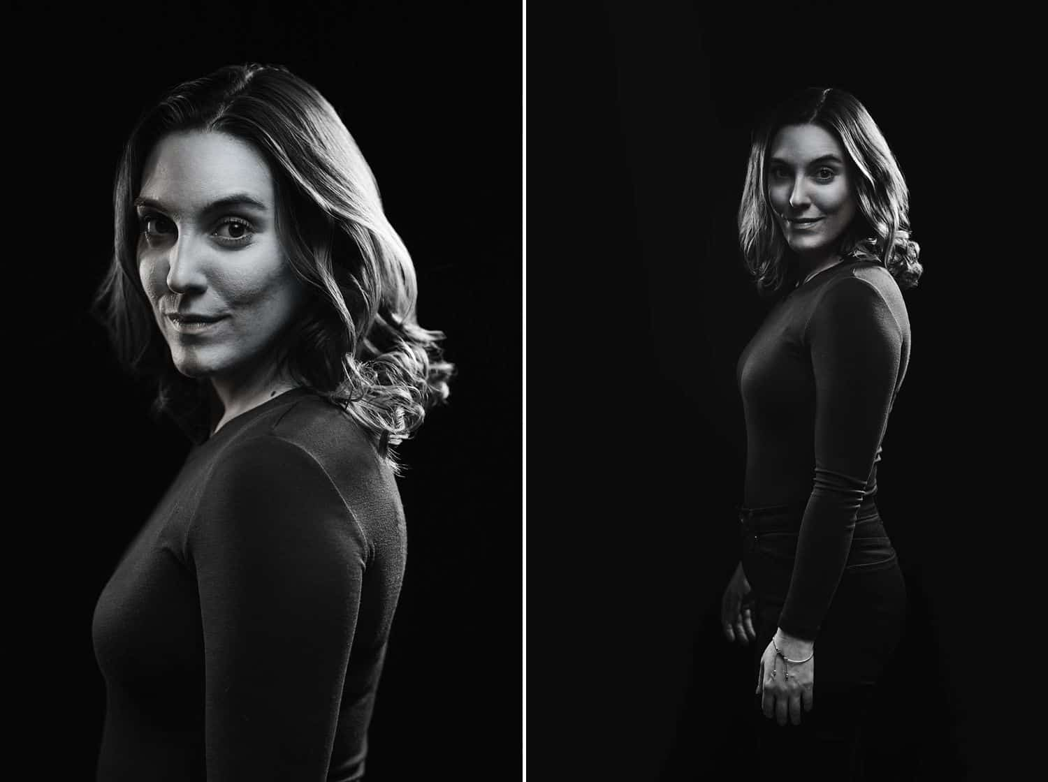 Two black and white studio portraits of a beautiful woman demonstrate how to use rim lighting to compose a high-contrast image.