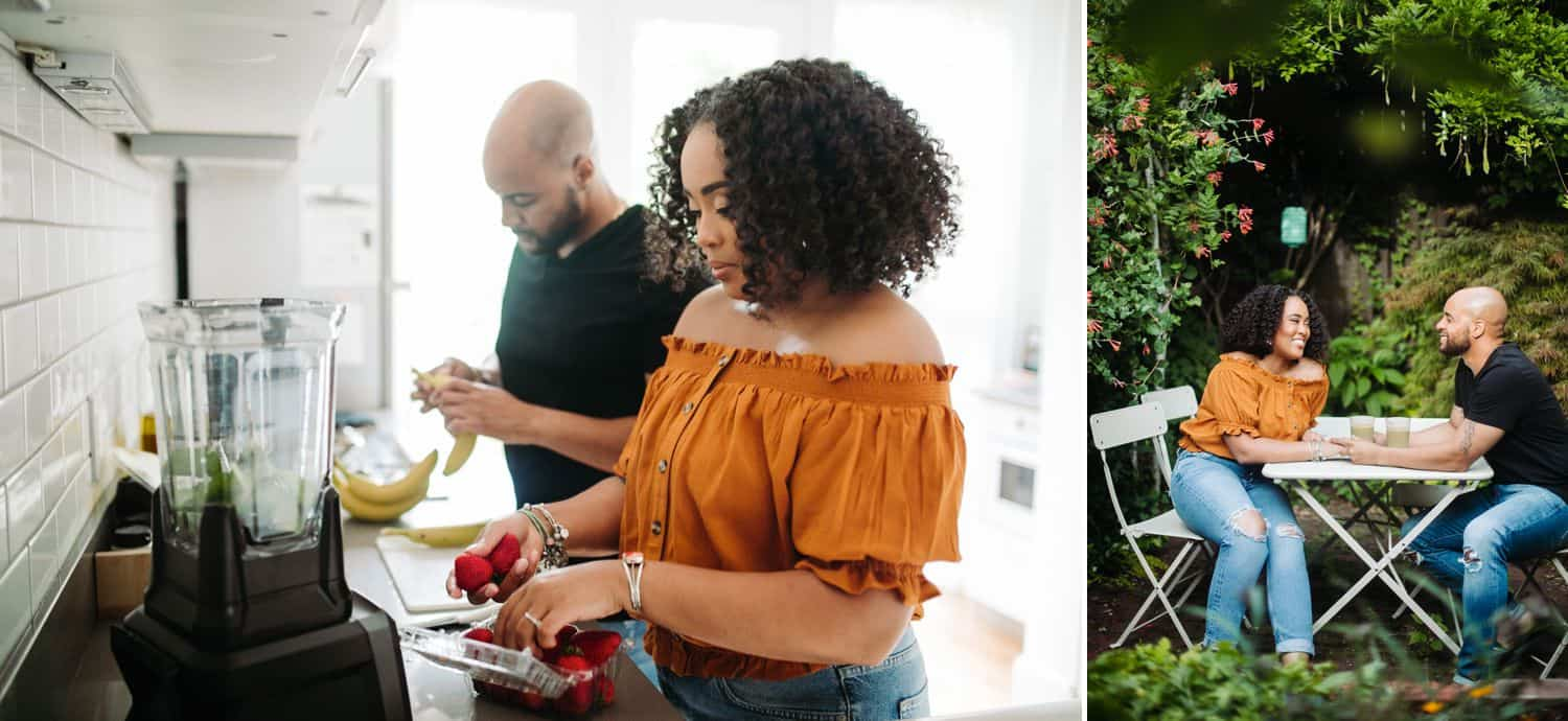 A Black couples cooks in an Airbnb kitchen and eats in the Atlanta courtyard